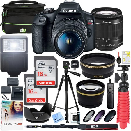 Canon EOS Rebel T7 DSLR Camera with EF-S 18-55mm f/3.5-5.6 IS II Lens Plus Double Battery Tripod Cleaning Kit and Deco Gear Deluxe Case Accessory