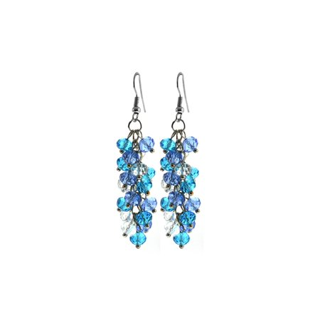 Ocean Blue Cluster Faceted Crystal Dangle Hook Earrings For Women 2