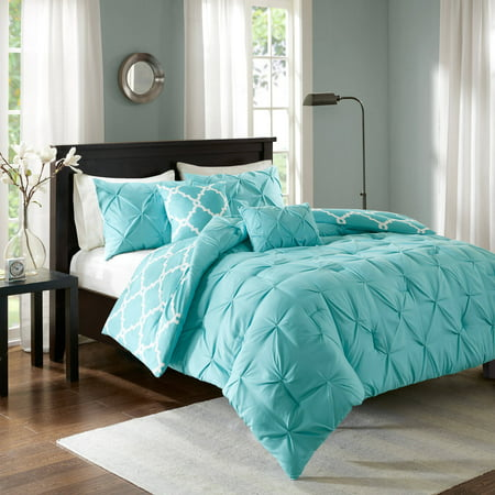 5pc Full/Queen Hayden Solid Reversible Comforter Set - Aqua