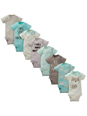 Gerber Assorted Short Sleeve Onesies Bodysuits, 8pk (Baby Boy)