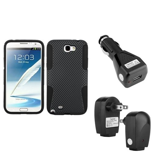 Insten Black/Grey Hybrid Case+Car+Home Charger Adapter For Samsung Galaxy Note 2 II