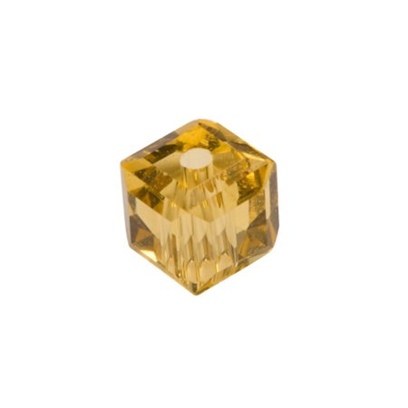 Light Topaz Cube Crystal Beads 6mm, 68 Beads / string of 16 inchs