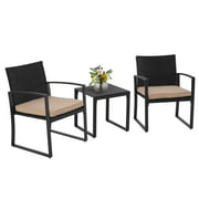 SUNCROWN Outdoor Furniture 3 Piece Patio Bistro Set Black Wicker Chairs and Glass Top Coffee Table, Brown Cushion