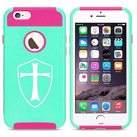 Apple iPhone 5 5s Shockproof Impact Hard Case Cover Templar Shield Knight Cross (Light Blue-Hot Pink),MIP