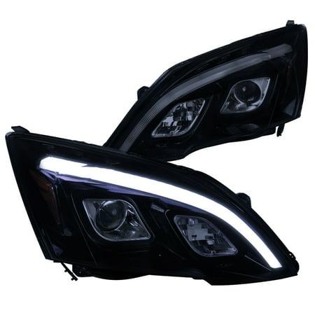 Spec-D Tuning For 2007-2011 Honda Crv Cr-V Glossy Black Smoke Led Projector Headlights (Left+Right) 2007 2008 2009 2010