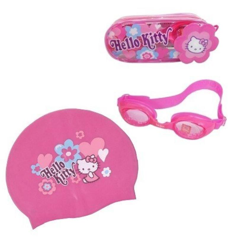 Hello Kitty Kid Silicone Swim Swimming Cap + Goggles Anti-frog Uv Protection by