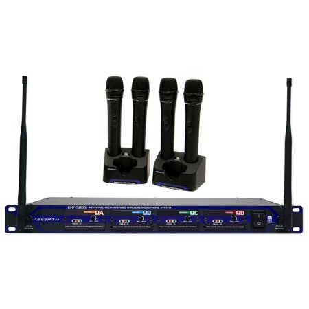 vocopro uhf 5805 4 rechargable wireless 4 ch handheld microphone system w case. Black Bedroom Furniture Sets. Home Design Ideas