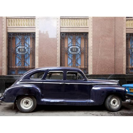 Vintage Car Parked Next to the Bacardi Rum Building in Havana, Cuba Print Wall Art By Carol Highsmith