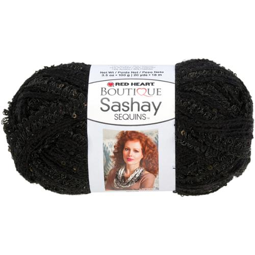 Red Heart Boutique Sashay Sequins Yarn-Caviar