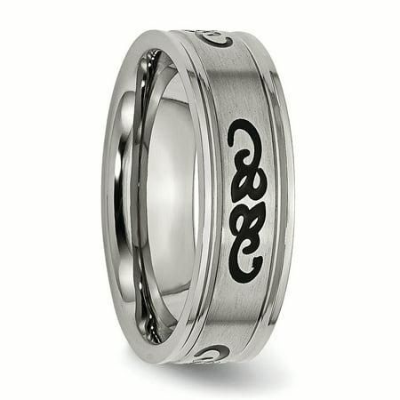 Bridal & Wedding Party Jewelry Titanium Black Rubber Ridged Edge 7mm Brushed Wedding Ring Band Size 8.50 Fancy