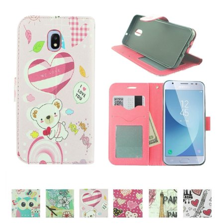 For For Samsung Galaxy J7 (2018)/ J7 Refine/ J7 Star/ J7V 2nd Gen. /J737 Fold Wallet Kickstand Phone Case bear love