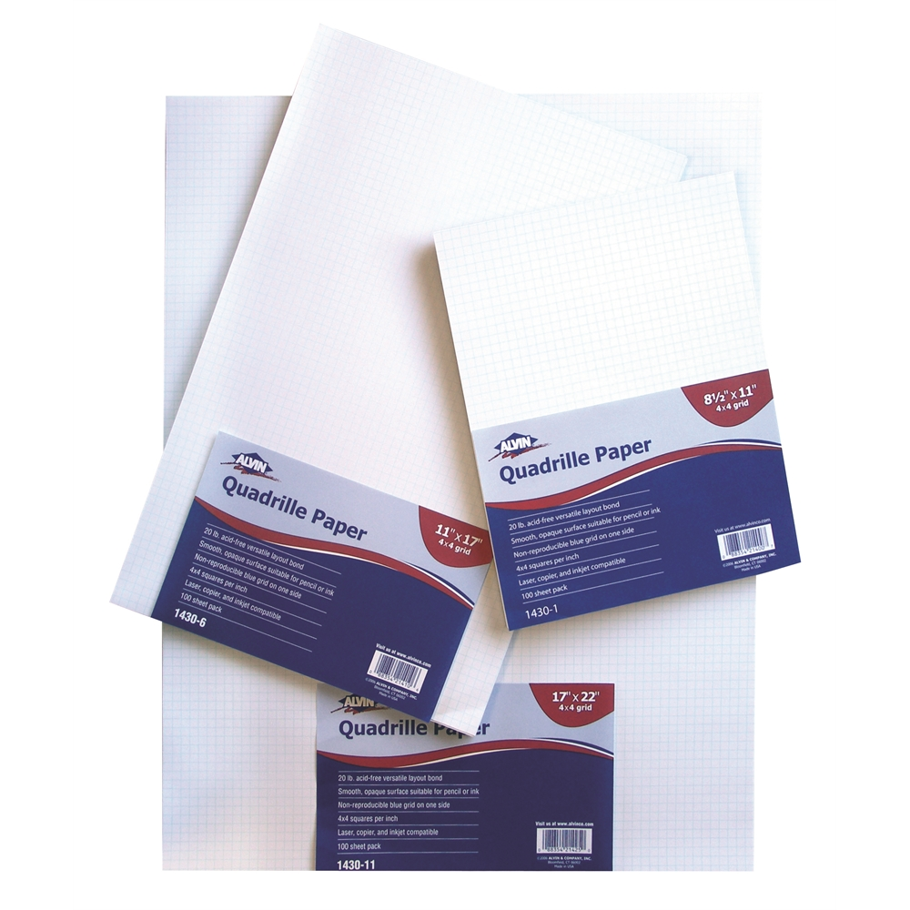 Quadrille Paper in Packs of 100 Sheets (17 in. L x 22 in. W  (4x4 Grid))