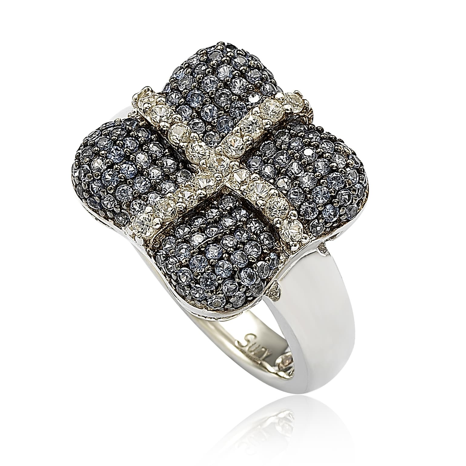 Suzy Levian Sterling Silver Blue & White Sapphire & Diamond Accent Wrapped Cushion Ring by Suzy Levian LLC