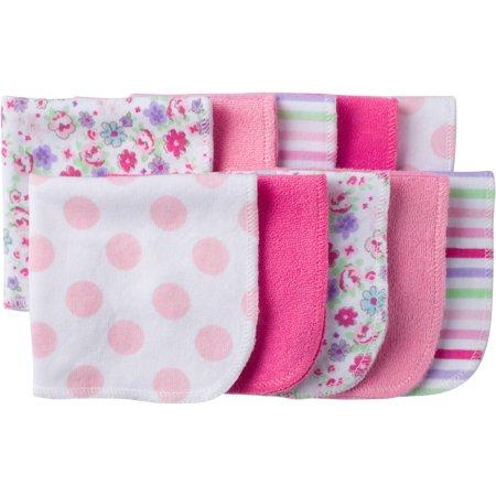 Gerber Newborn Baby Girl Assorted Terry Printed Washcloths, 10 Pack