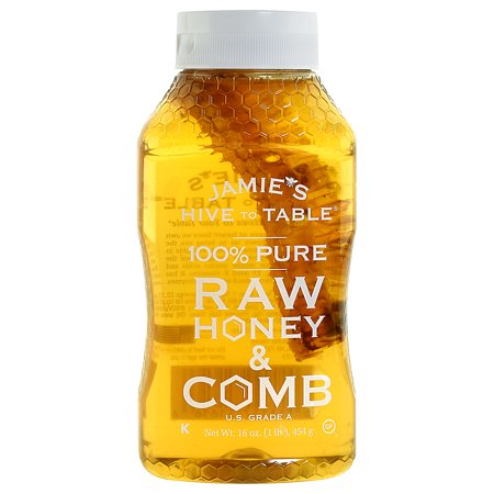 Jamie's Hive to Table 100% PURE Raw Honey & Honey Comb, 100% Natural, Nature Made Honey with No Fillers, 16 Oz. Bottle (Nature Natural)