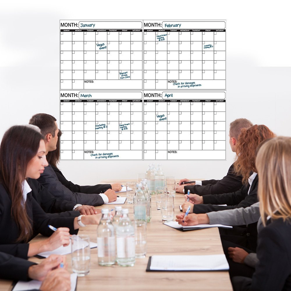 """Laminated Wet or Dry Erase Quarterly Wall Calendar Planner Large Plan 38x45"""" by Business Basics"""