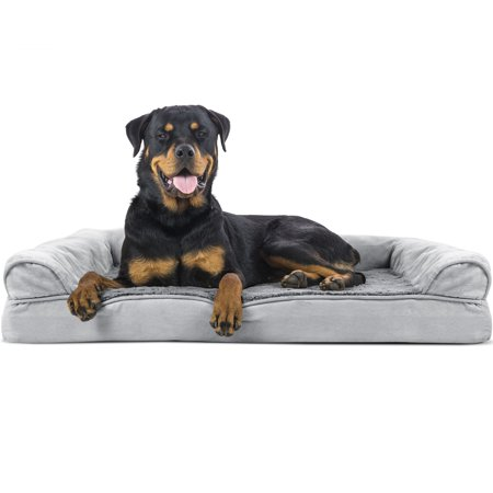 FurHaven Pet Dog Bed | Orthopedic Ultra Plush Sofa-Style Couch Pet Bed for Dogs & Cats, Gray, Jumbo Bamboo Dog Cat Bed