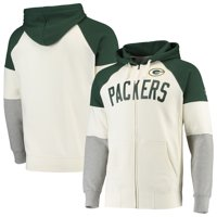 Green Bay Packers Hands High Point Check French Terry Raglan Full-Zip Hoodie - White/Green