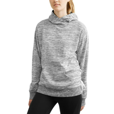 Athletex Women's Fleece Lace-Up Side Pullover Hoodie with Kangaroo Pocket
