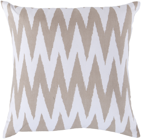"18"" Multiplicity White and Taupe Decorative Throw Pillow"