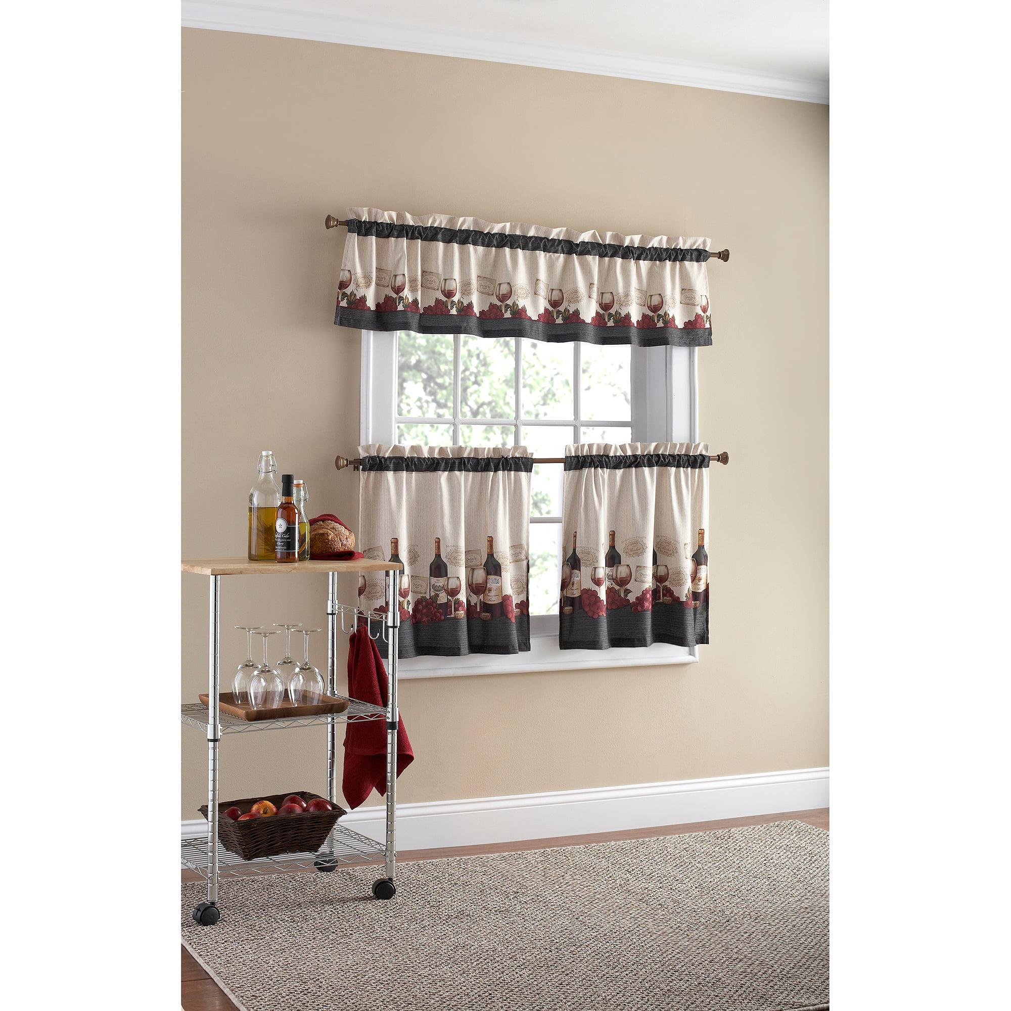Mainstays Vineyard 3 Piece Kitchen Curtain Set Walmart Com