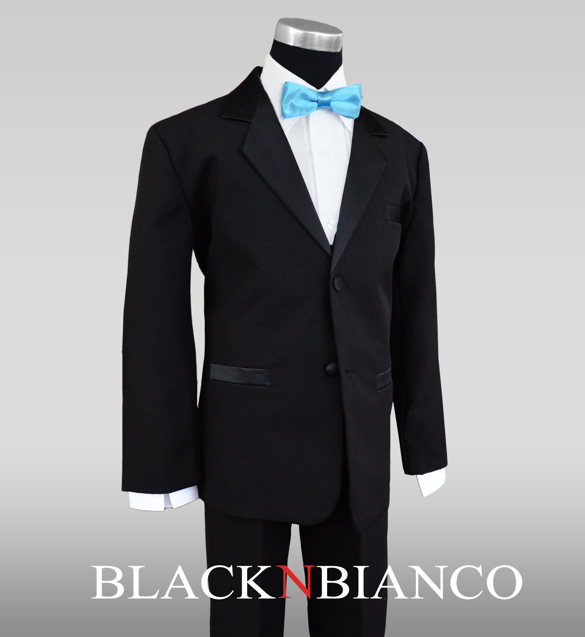 Boys Tuxedos in Black with Baby Blue Bow Tie