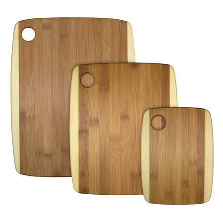 Totally Bamboo 3-Piece Two-Tone Bamboo Serving and Cutting Board Set