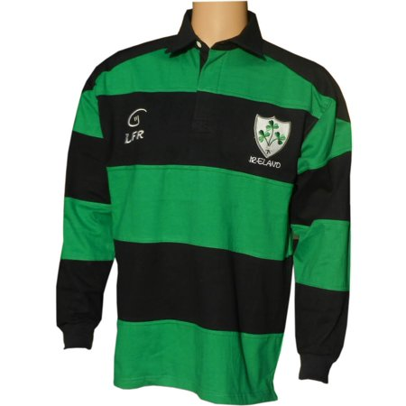Irish Rugby Shirt for Men, Green and Blue with Shamrock Crest, Irish Fan Shirt, Small.