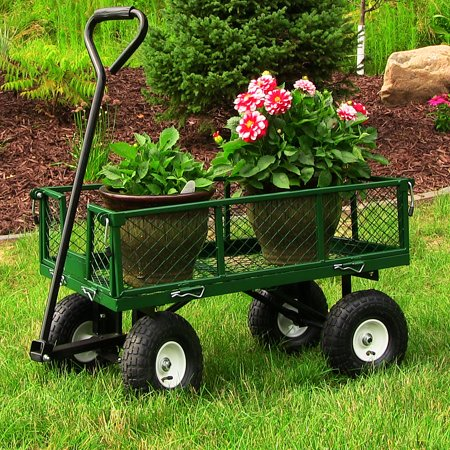 Lawn Garden Wagon - Sunnydaze Utility Steel Garden Cart, Outdoor Lawn Wagon with Removable Sides, Heavy-Duty 400 Pound Capacity, Green