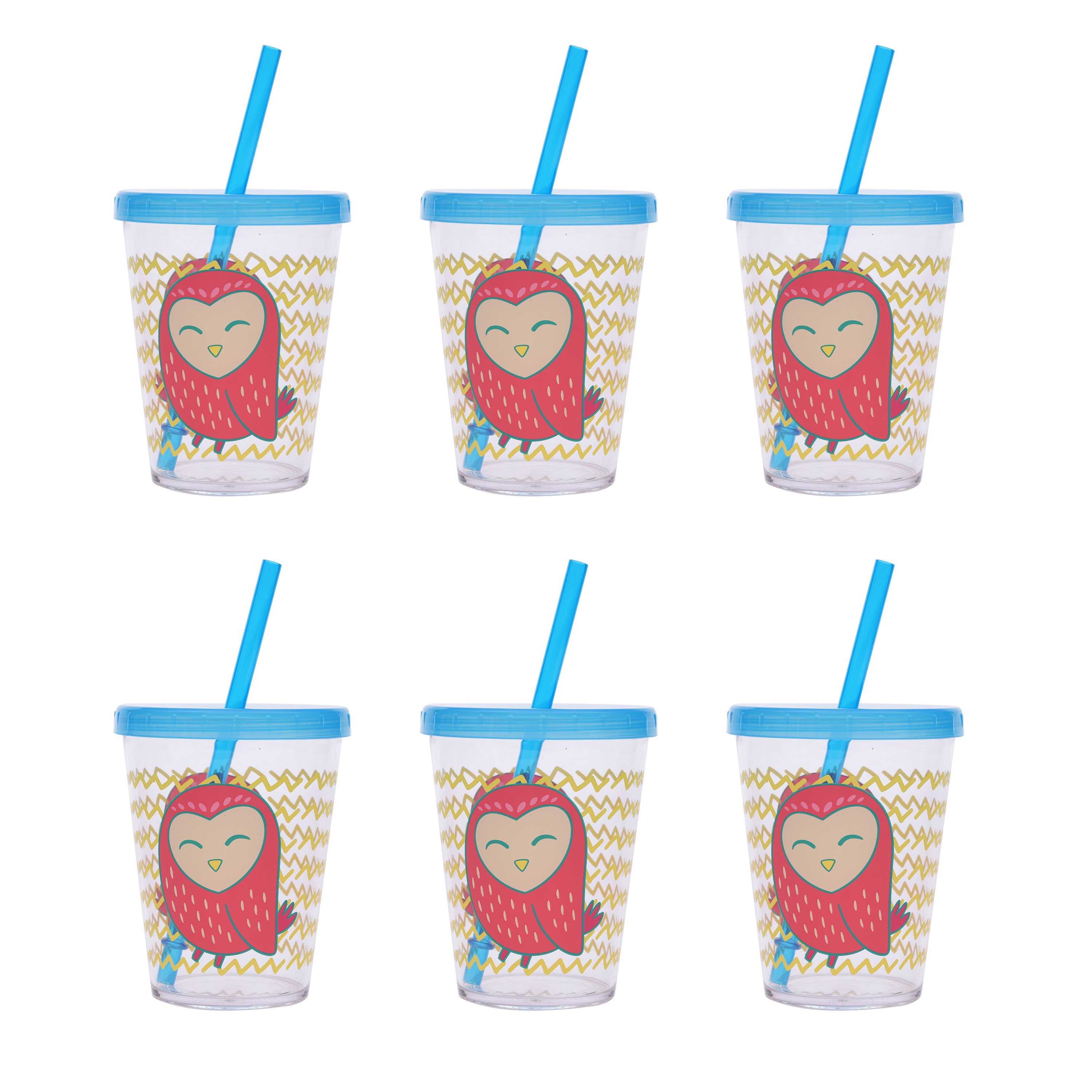 Mainstays Melamine Girl Owl 6-Pack Tumblers Set