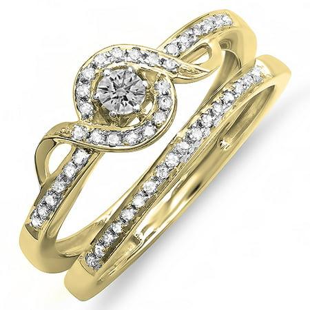 18k White Gold Rolling Ring (0.25 Carat (ctw) 18K Yellow Gold Round Diamond Ladies Bridal Promise Ring Set Matching Band 1/4)