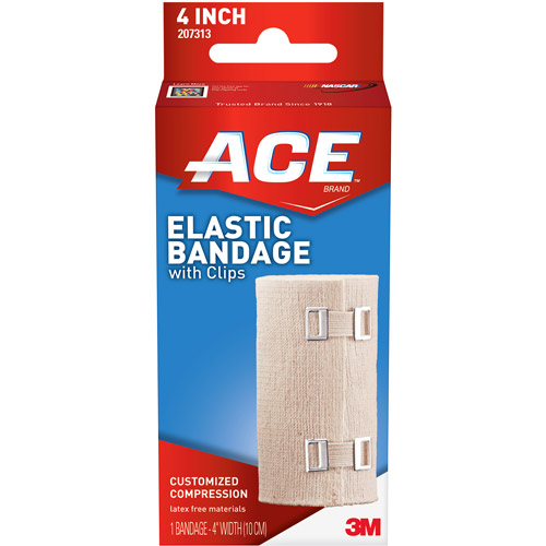 ACE Elastic Bandage w/clips, 4 in, 209610