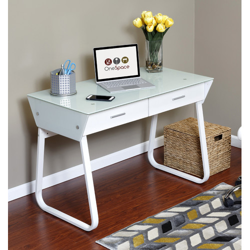 Comfort Products Ultramodern Glass Computer Desk with Drawers, Steel Frame, White
