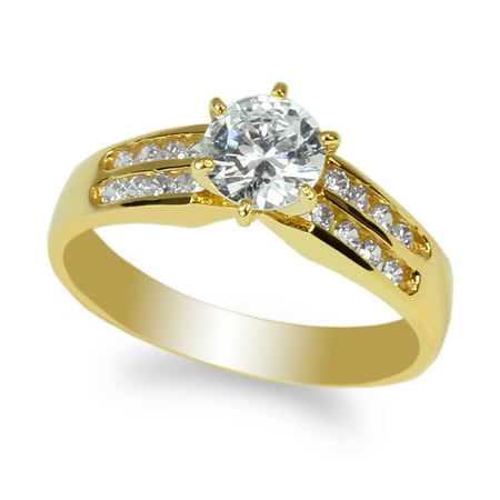 10K Yellow Gold 0.7ct Round CZ Channel Solitaire Ring Size (Channel Solitaire)