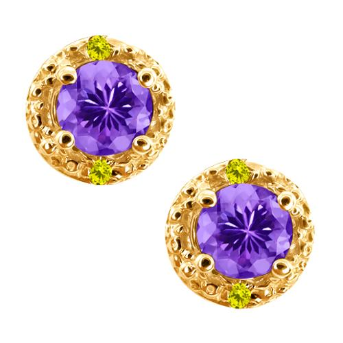 0.62 Ct Round Blue Tanzanite and Diamond Gold Plated Silver Earrings