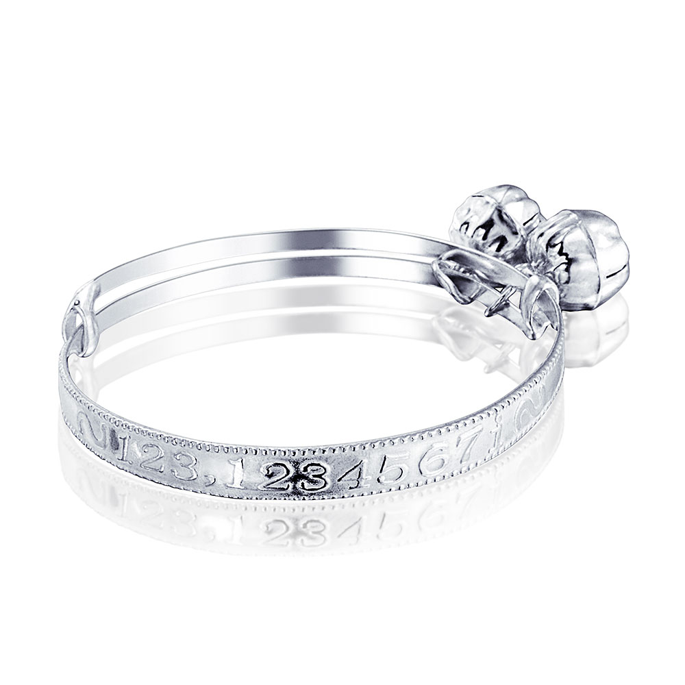 925 Silver Jingle Bell Numbers Baby Bangle Bracelet 6.5in
