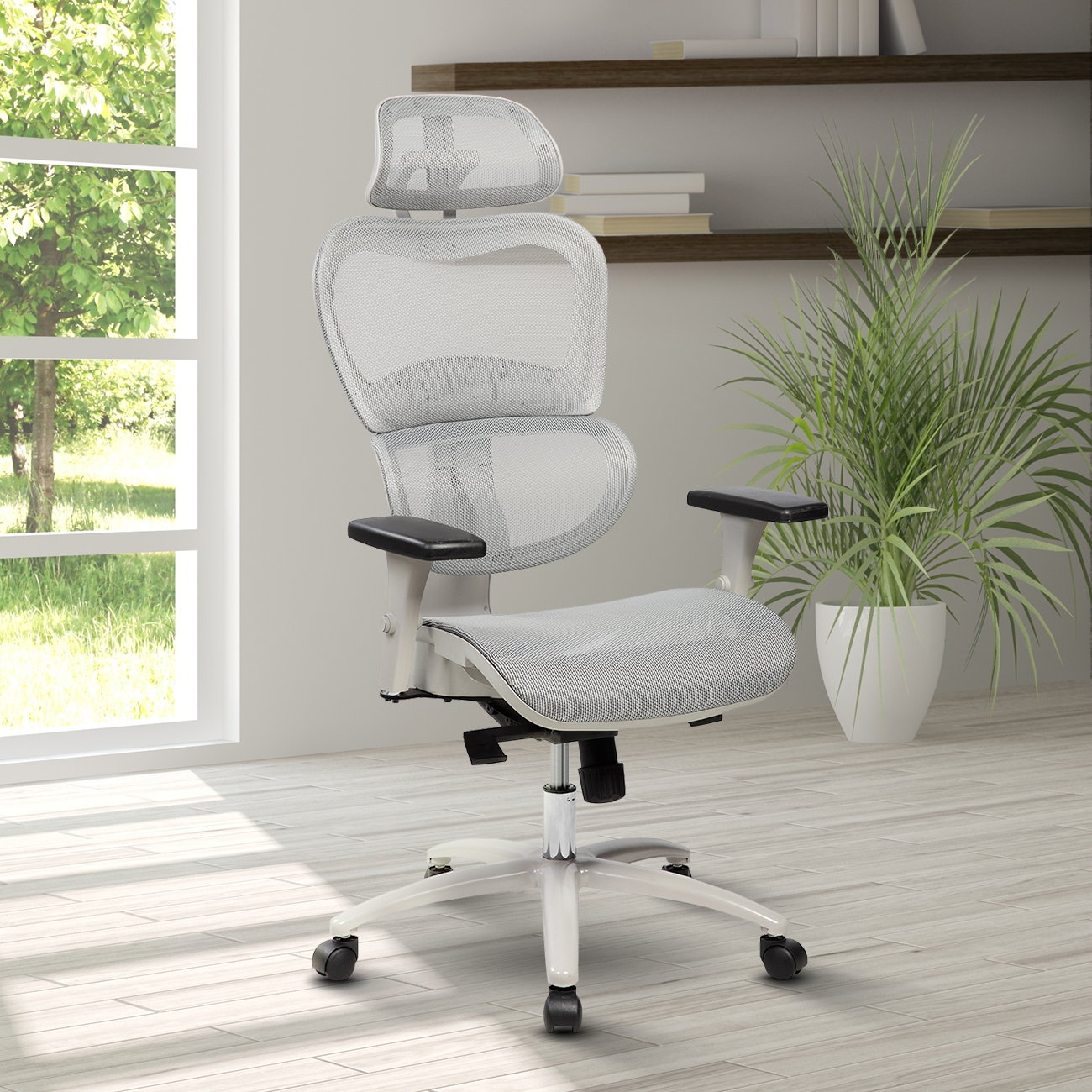 Techni Mobili High Back Mesh Executive Office Chair with Neck Support, Grey (RTA-5004)