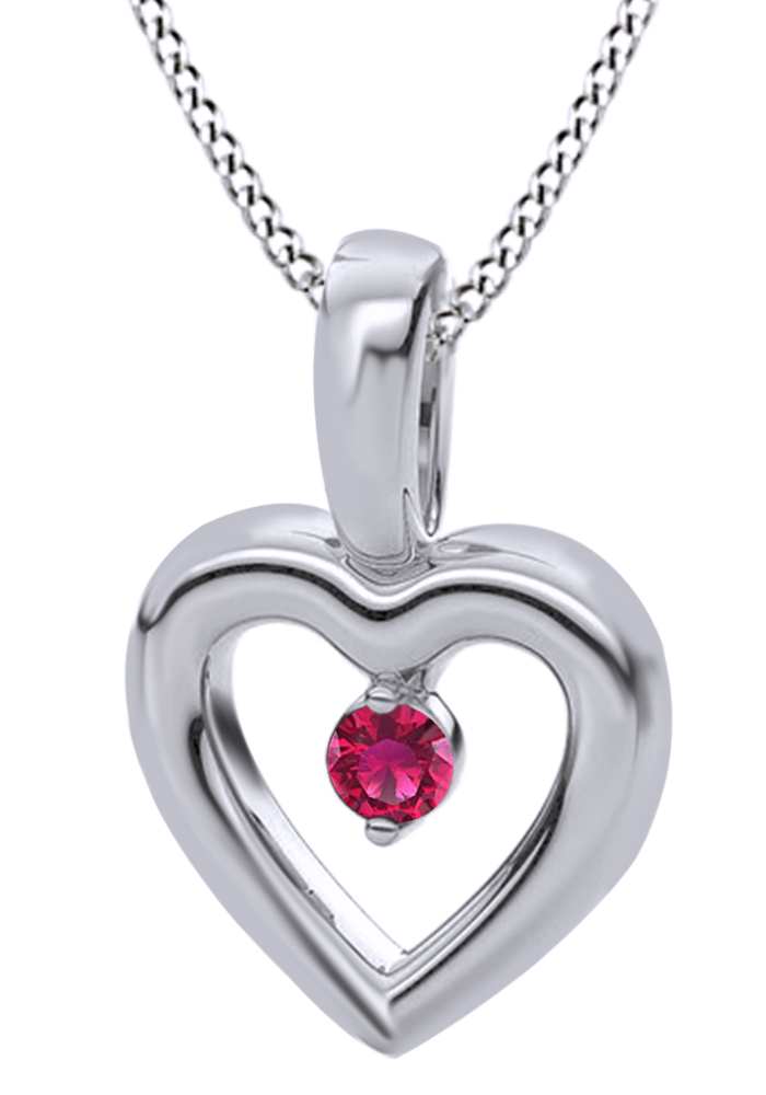 Round Cut Simulated Pink Ruby Accent Heart Pendant Necklace In 14k Solid Yellow Gold (0.03 Cttw) by Jewel Zone US