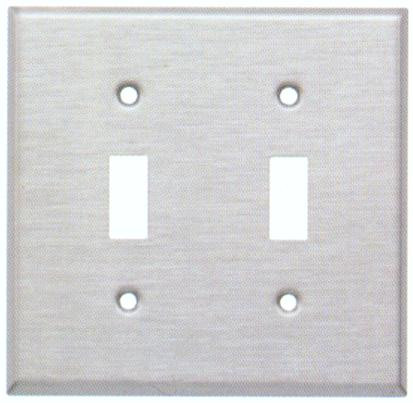 Stainless Steel Metal Wall Plates Midsize 2 Gang Toggle Switch