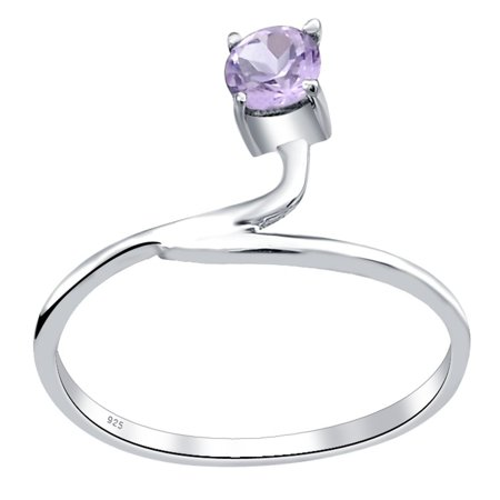 Orchid Jewelry 925 Sterling Silver 0.25 Carat Amethyst Stylish Solitaire Engagement Ring Size -7