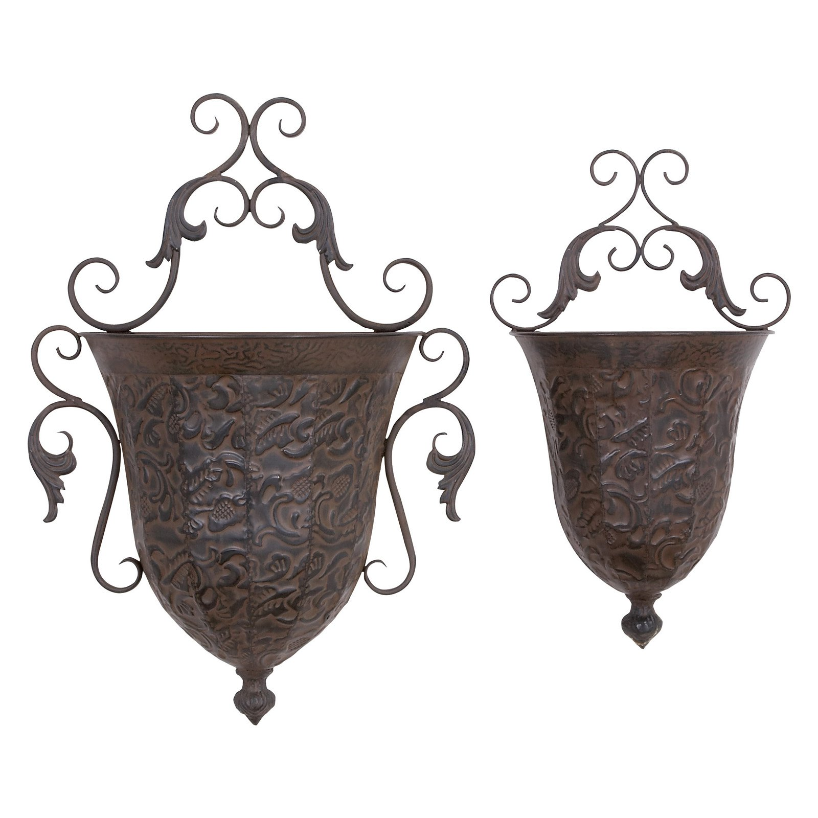 Metal Wall Planter decmode metal wall planter, set of 2, brass - walmart