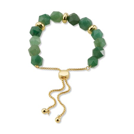 14KT Gold Flash Plated Genuine Green Aventurine Bolo Bracelet