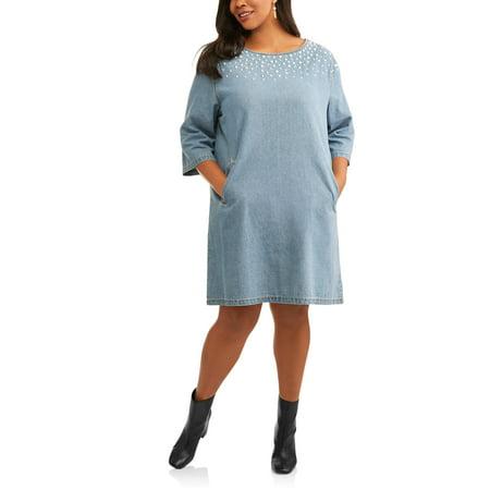 Stone Dress Clip - Rock & Stone Women's Plus Pearl Denim Dress