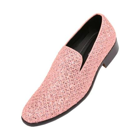 - Bolano Mens Metallic Sparkling Lattice Glitter Tuxedo Slip on Smoking Slipper Dress Shoe, Style Sarlo, Runs Large Size 1/2 Size Down