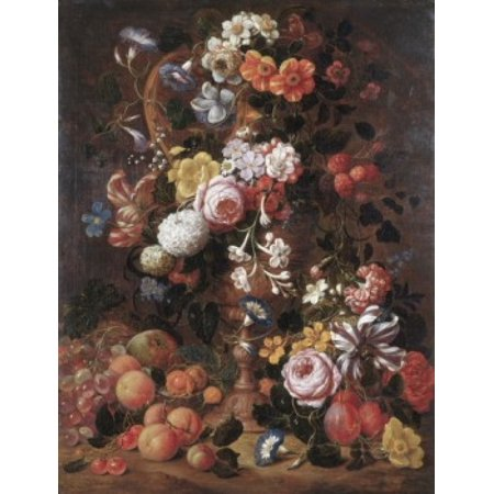 Roses Dahlias Convolvulus and Other Flowers Nicholas van Veerendael (1640-1691Dutch) Stretched Canvas - Nicolas van Veerendael (24 x 36)