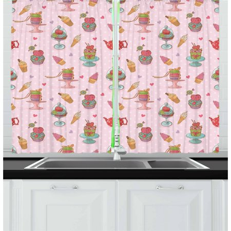 Ice Cream Curtains 2 Panels Set, Retro Style Cupcakes Teapots Candies Cookies on Polka Dots Vintage Kitchen Print, Window Drapes for Living Room Bedroom, 55W X 39L Inches, Multicolor, by Ambesonne