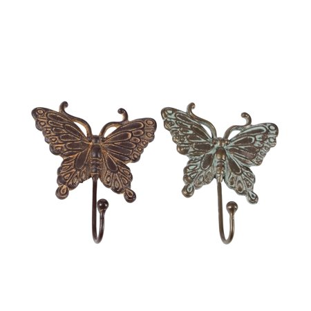 Decmode Set of 2 eclectic 7 x 6 inch iron butterfly wall hooks, White, Brown