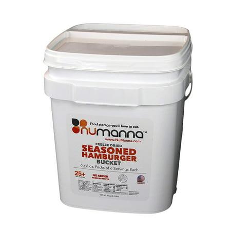 NuManna Seasoned Ground Beef (Hamburger) Bucket 36 Meals - Emergency Survival Food Storage Kit, Separate Rations, in a Bucket, 25 Plus Year Shelf Life, GMO-Free