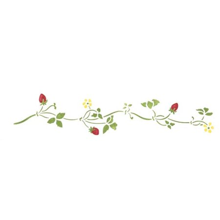 Wave Border Stencil (Small Strawberry Vine Wall Stencil Border SKU #1485 by Designer Stencils)
