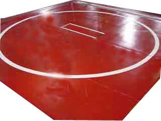 "Wrestling Mat 12'x12' (One Piece), Mat:Black, Markings:White, 1.25"" One Piece by"